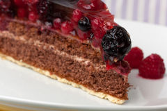 Chocolate pie(Tart) with cream,cherry,raspberry, a Stock Photo