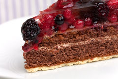 Chocolate pie(Tart) with cream,cherry,raspberry, a Stock Image