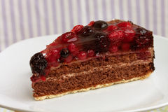 Chocolate pie(Tart) with cream,cherry,raspberry, a Stock Images