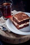 Chocolate pie with walnut cream Stock Image