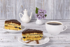 Chocolate piece of cake from biscuit dough with poppy seed, prune and walnuts and cup of coffee Stock Photos