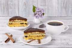 Chocolate piece of cake from biscuit dough with poppy seed, prune and walnuts and cup of coffee Royalty Free Stock Images