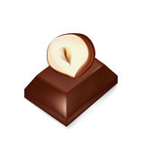 Chocolate piece and hazelnut isolated Royalty Free Stock Photo