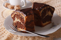 Chocolate piece of marble cake closeup horizontal Stock Photos