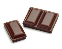 Chocolate pieces. On white background Royalty Free Stock Photo