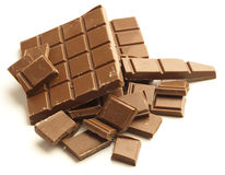 Chocolate pieces Stock Images