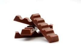 Chocolate pieces. Pic of Chocolate pieces on a white back Stock Images