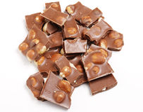 Chocolate pieces. Pieces of hazelnut chocolate bar Stock Photo