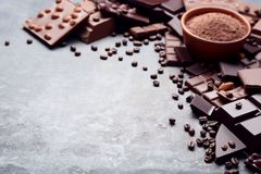Chocolate pieces with cocoa powder royalty free stock image