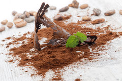 Chocolate pieces and cocoa powder on a wooden table Stock Photography
