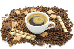 Chocolate pieces and coffee beans Stock Image