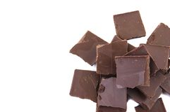 Chocolate pieces in in the corner Royalty Free Stock Image