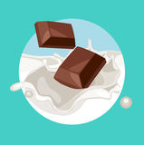 Chocolate pieces falling in cream splash Stock Photography