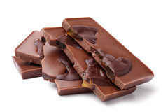 Chocolate pieces with fruits Stock Photo