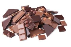 Chocolate pieces with hazelnuts Stock Photo