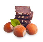 Chocolate pieces with hazelnuts Royalty Free Stock Image