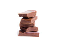 Chocolate pieces isolated Stock Image
