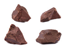 Chocolate pieces. Isolated on white background Royalty Free Stock Image