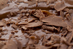 Chocolate pieces on melted chocolate Royalty Free Stock Image