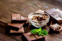 Chocolate pieces with mint on wooden table background Stock Photos