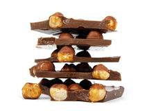 Chocolate pieces with nut Royalty Free Stock Photo