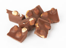 Chocolate pieces with nut Stock Image