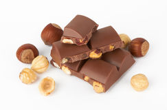Chocolate pieces with nut Royalty Free Stock Photos