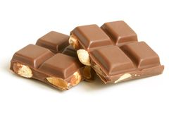 Chocolate pieces with nuts stock image