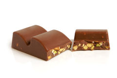 Chocolate pieces with nuts Stock Photography