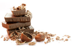 Chocolate pieces with nuts Royalty Free Stock Images