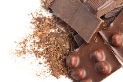Chocolate pieces with nuts macro Royalty Free Stock Image