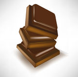 Chocolate pieces pile Stock Photo