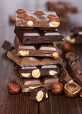 Chocolate pieces in a pile Stock Image