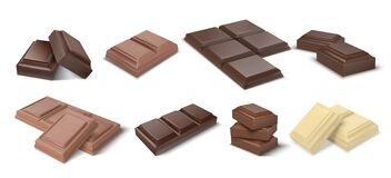 Free Chocolate Pieces. Realistic Dark Bars And Chunks Of Milky Chocolate, 3D Blocks Of Cocoa Dessert. Vector Square Chocolate Royalty Free Stock Images - 171982549