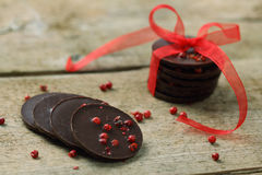 Chocolate pieces with red pepper Royalty Free Stock Photography