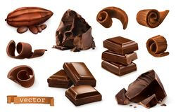 Chocolate. Pieces, shavings, cocoa fruit. 3d vector icon set. Chocolate. Pieces, shavings, cocoa fruit. 3d realistic vector icon set vector illustration