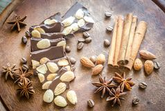 Chocolate pieces with spice, cinnamon and anise Stock Image