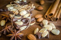 Chocolate pieces with spice, cinnamon and anise Royalty Free Stock Image