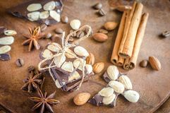 Chocolate pieces with spice, cinnamon and anise Stock Images