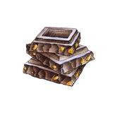Chocolate pieces in the stack. Stack of chocolate on a white background. Watercolor illustration Royalty Free Stock Photo