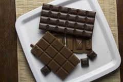 Chocolate pieces on white plate Royalty Free Stock Photo