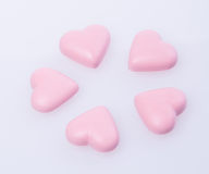chocolate in pink colour or love shape chocolate. Royalty Free Stock Photography