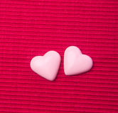 chocolate in pink colour or love shape chocolate. Stock Photos