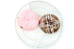 Chocolate and pink donut Royalty Free Stock Photo