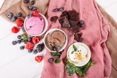 Chocolate Pink Fruit Vanilla Icecream Set Flat Lay