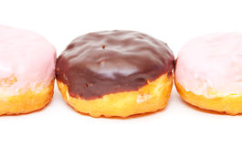 Chocolate and Pink icing Donuts Royalty Free Stock Photos