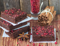 Chocolate and pink pepper brownie cakes Stock Photography