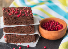 Chocolate and pink pepper brownie cakes. Royalty Free Stock Image