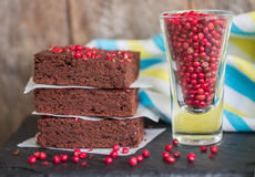 Chocolate and pink pepper brownie cakes. Stock Photos