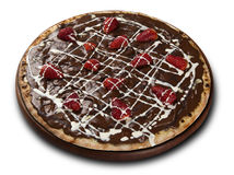 Chocolate pizza. Pizza sweet strawberry and chocolate. Stock Photography